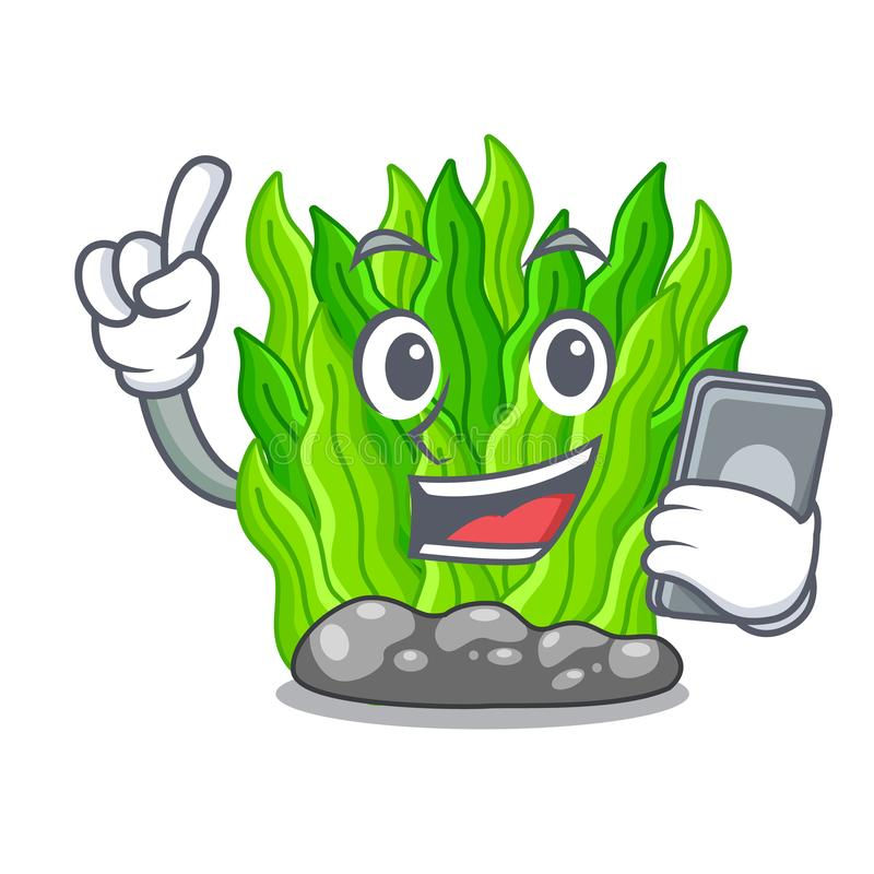 With phone green seaweed in the cartoon shape vector illustration