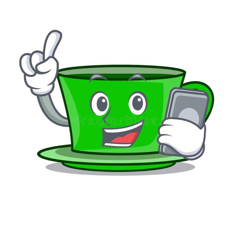 With phone green tea character cartoon stock illustration
