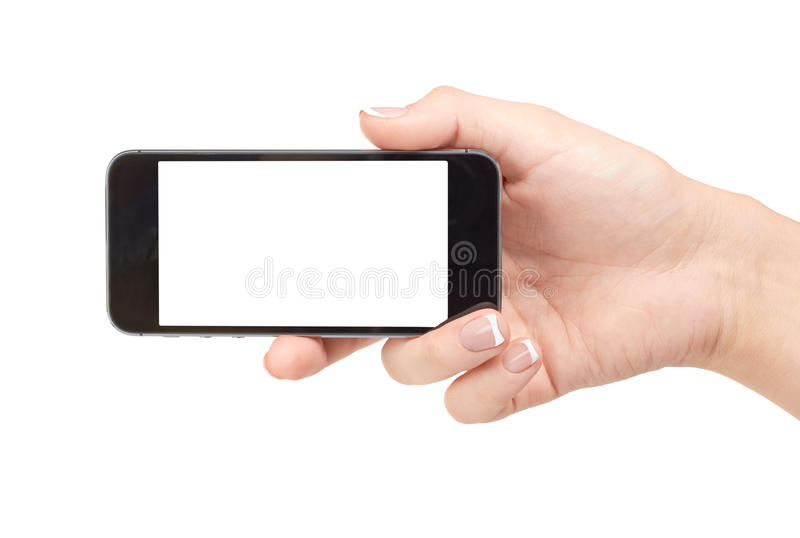 Phone in hand stock images
