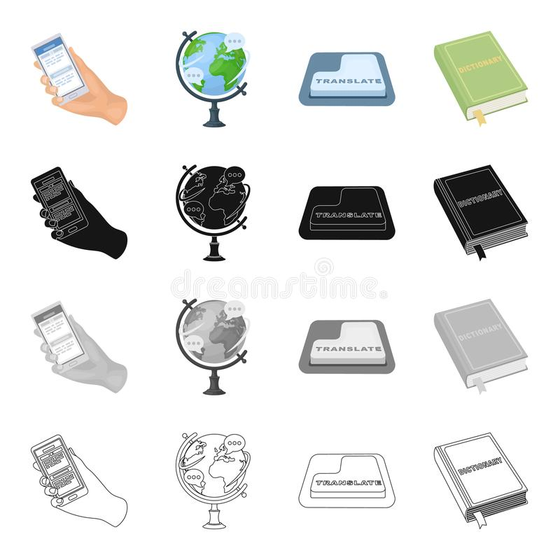 Phone in hand, globe, translation button, dictionary. Interpreter set collection icons in cartoon black monochrome vector illustration