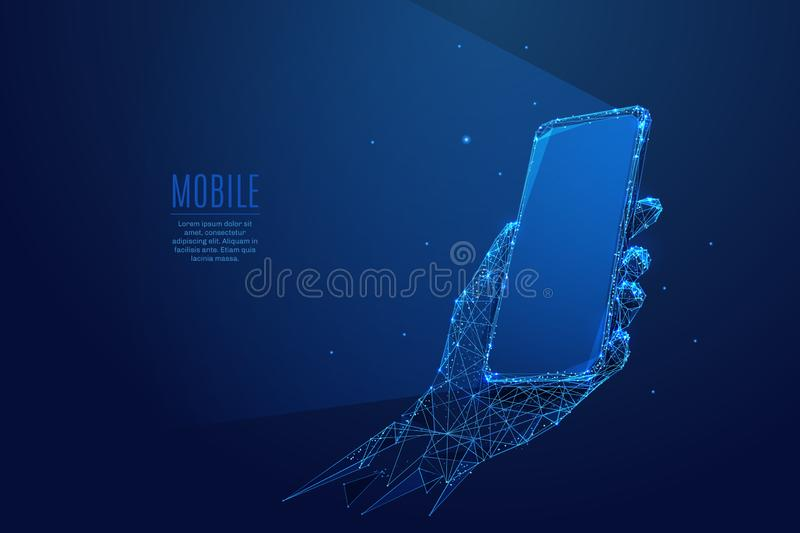 Phone in a hand low poly blue. Phone in a hand. Abstract Low-poly wireframe vector technology illustration. Starry sky and cosmos style in blue color. Device vector illustration