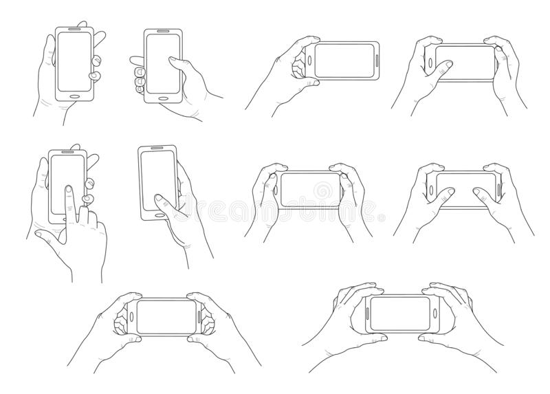 Phone in hand. Set of different gestures. Isolated contour. Vector stock illustration