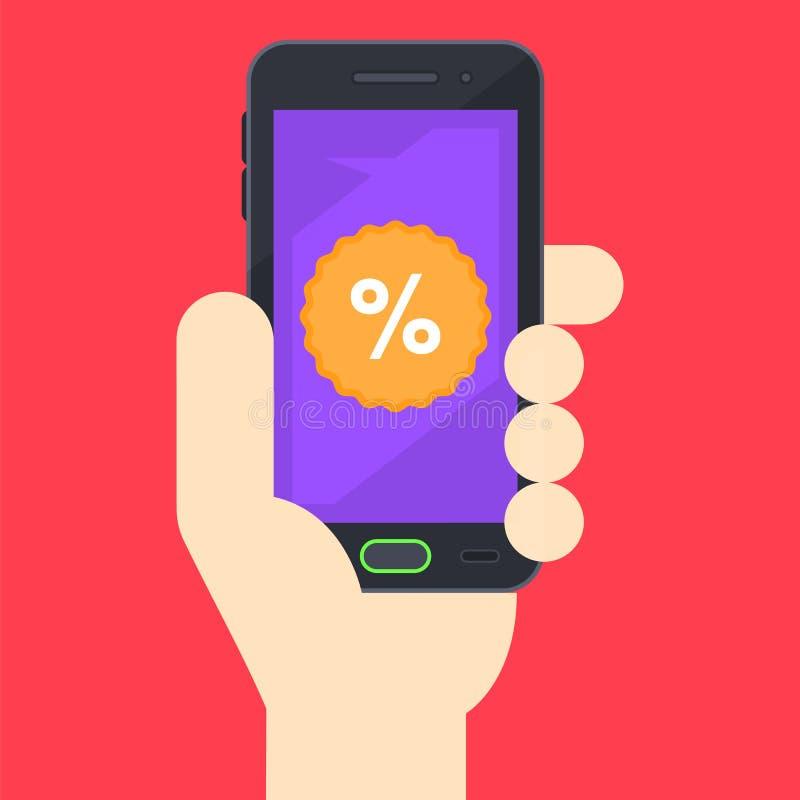 Phone in hand vector flat illustration vector illustration