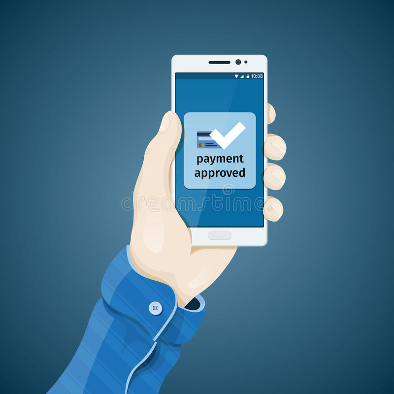 Phone in hand vector illustration in flat style. stock image