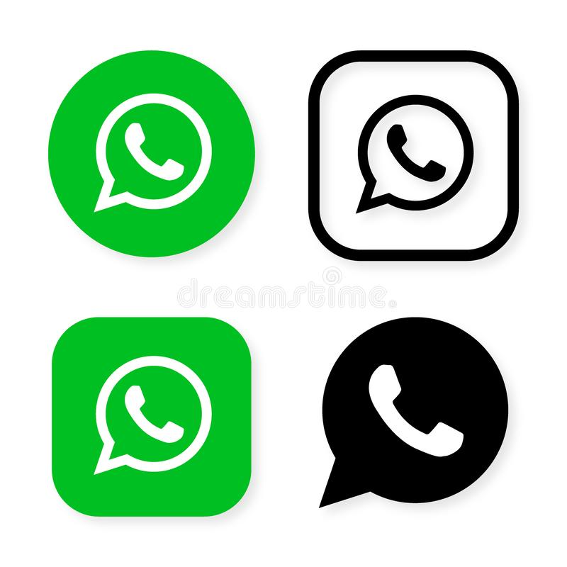 Free Phone Handset Icon In Speech Bubble On Green Background. Whats App Messenger Logo Icon, Symbol, Ui. Vector Illustration Royalty Free Stock Photos - 135013988