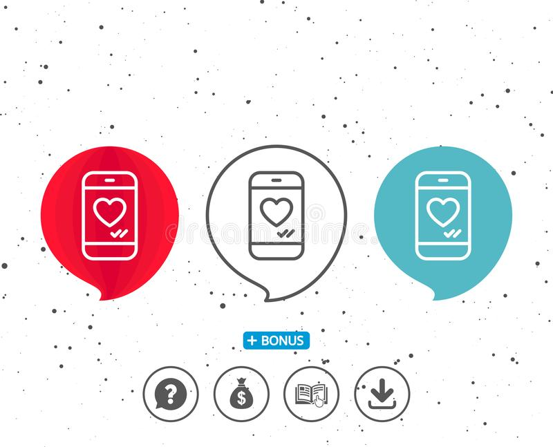 Phone with heart line icon. Social media like. royalty free illustration