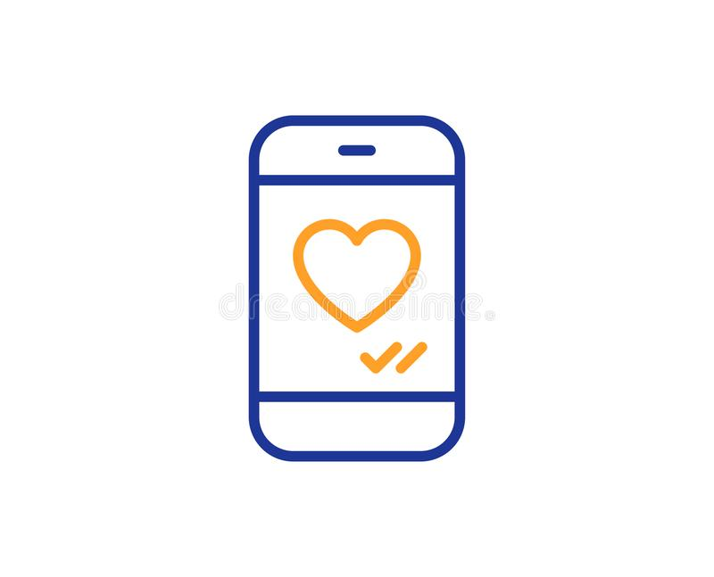 Phone with heart line icon. Social media like. Vector stock illustration