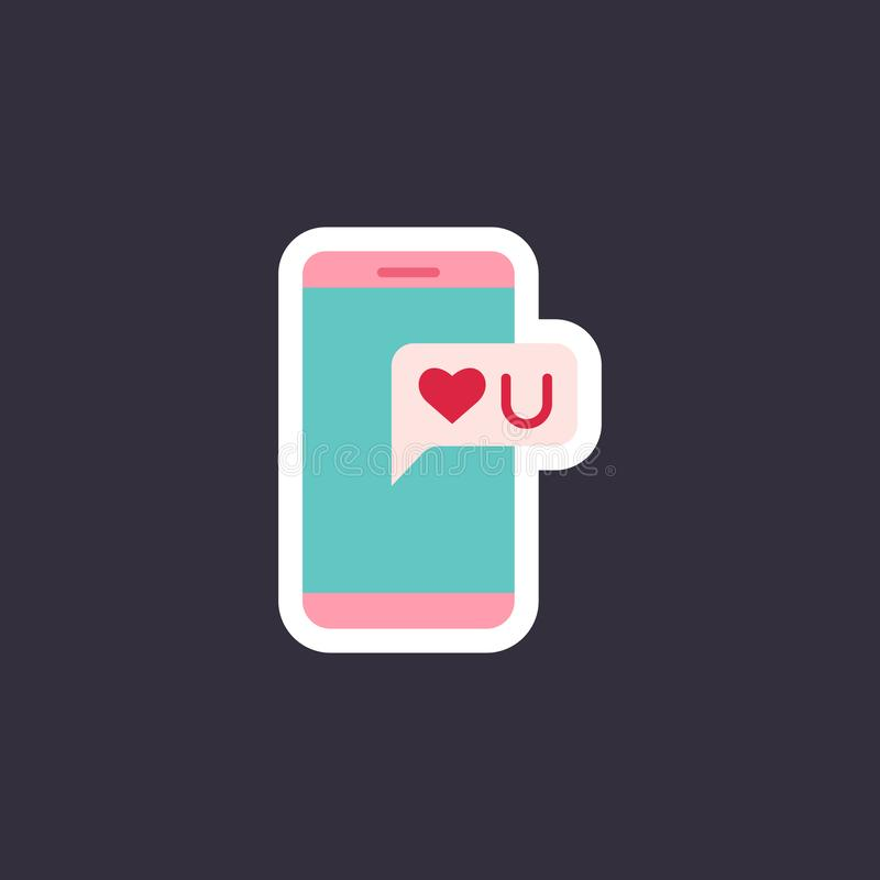 Phone with heart sticker. royalty free illustration