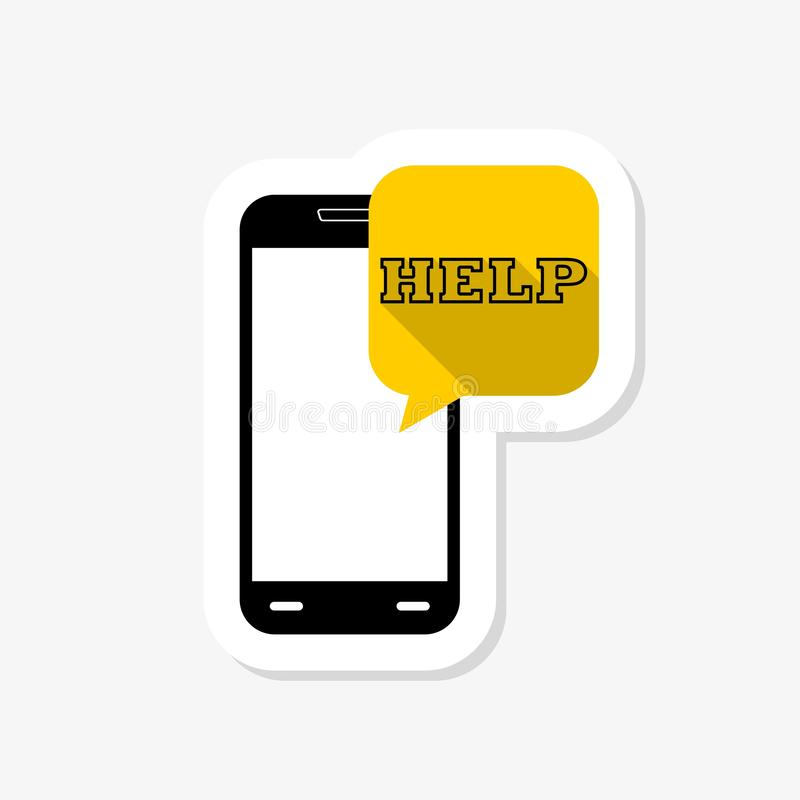 Phone Help sticker icon. Mobile chat sign. Conversation or SMS symbol royalty free illustration