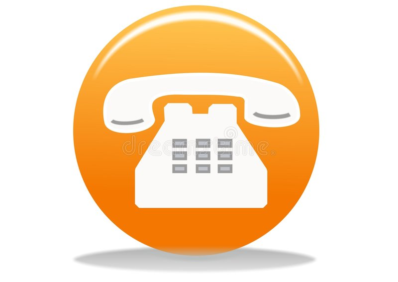 Phone icon. Orange phone web icon - web design buttons vector illustration
