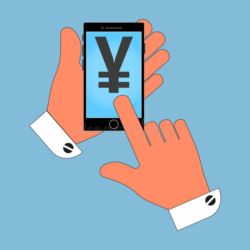 Phone icon in the hand, with the icon Japan yen on the screen, isolation on a blue background. royalty free illustration