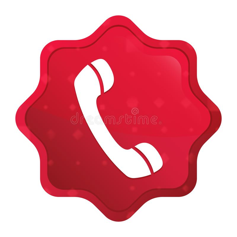 Phone icon misty rose red starburst sticker button stock illustration