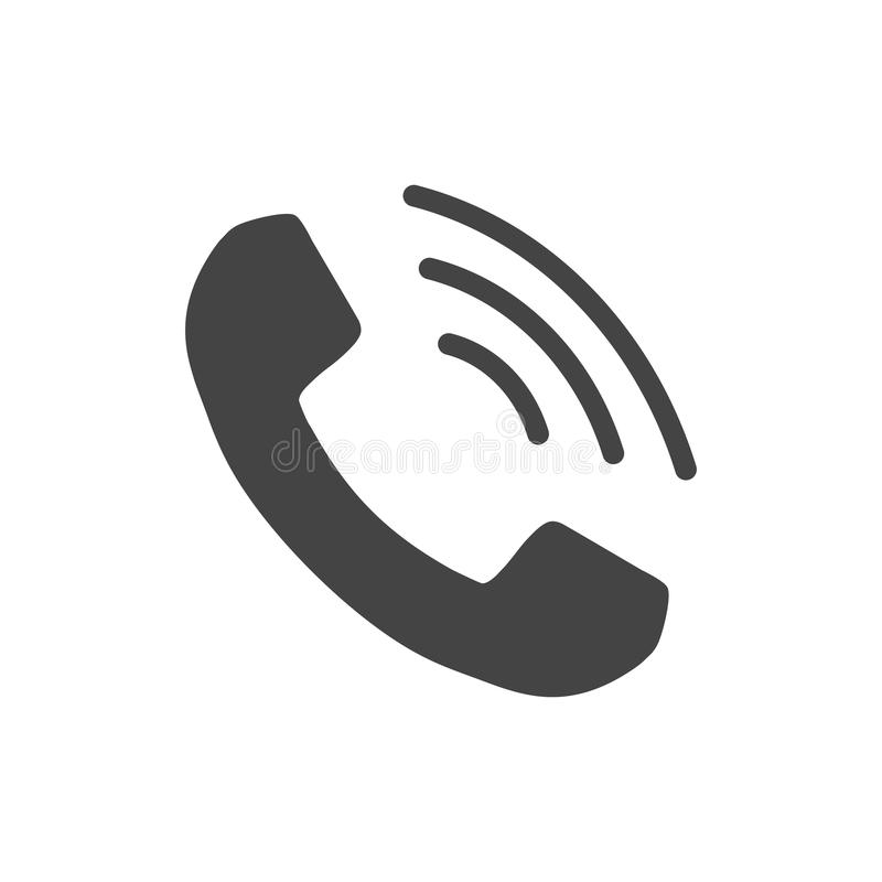 Phone icon vector, contact, support service sign isolated on white background. Telephone, communication icon in flat style. stock illustration