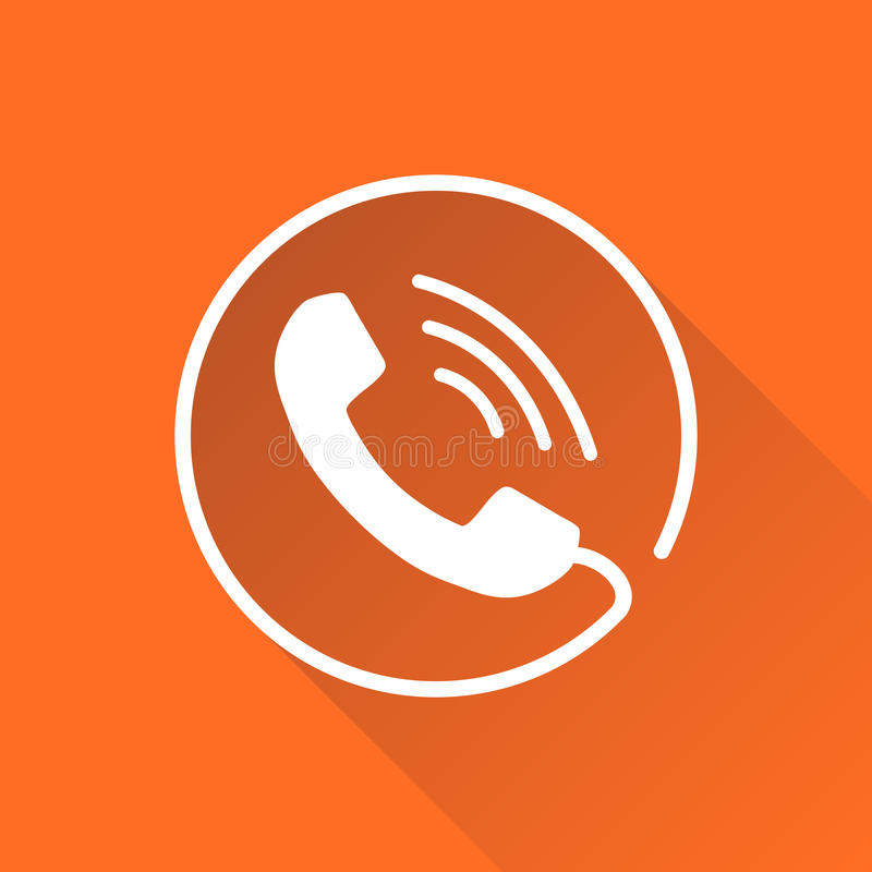 Phone icon vector. Contact, support service sign on round orange background with long shadow. Telephone, communication icon in flat style royalty free illustration
