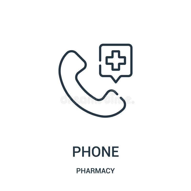 Phone icon vector from pharmacy collection. Thin line phone outline icon vector illustration. Linear symbol for use on web and mobile apps, logo, print media stock illustration