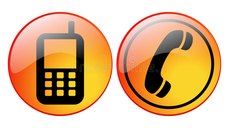 Phone icons. Illustration of old fashioned phone and mobile phone