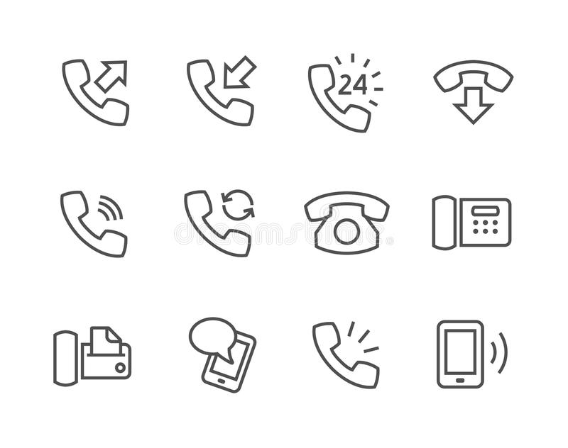 Phone icons. Simple set of phones related vector icons for your site or application stock illustration
