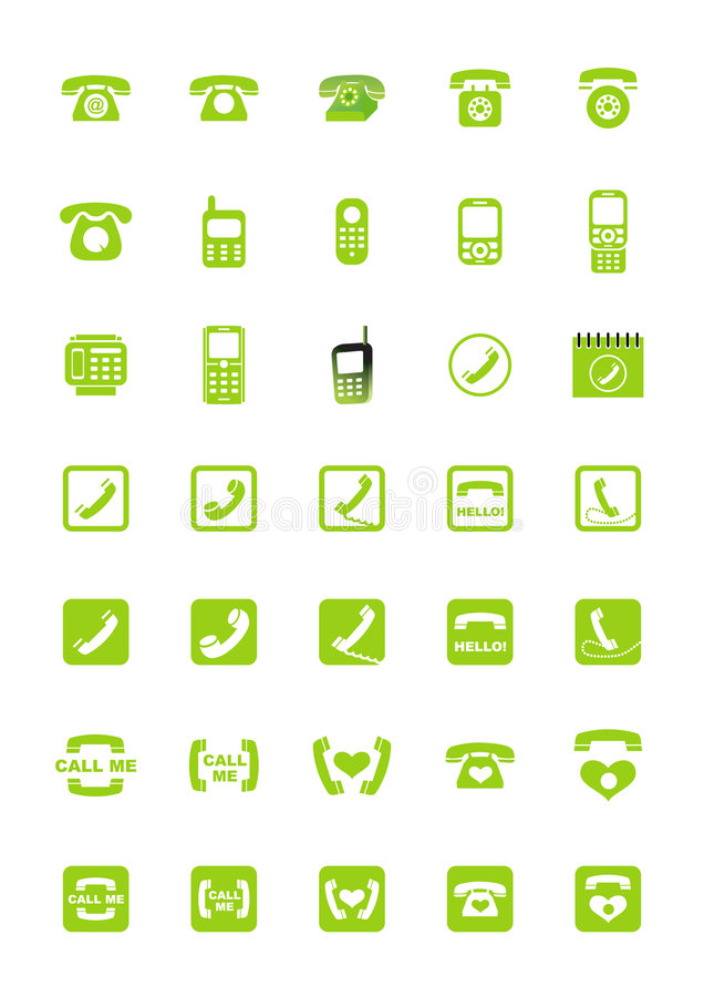 Phone icons. Set of phone icons. Vector illustration