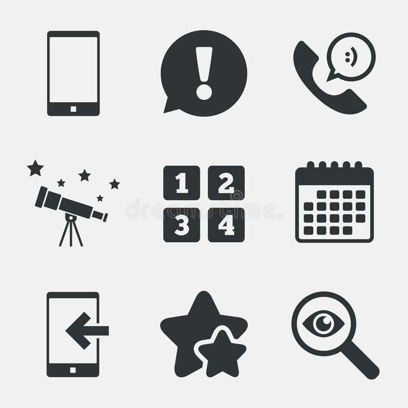 Phone Icons Call Center Support Symbol Stock Vector Illustration