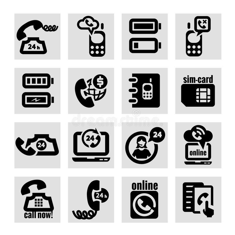 Download Phone  icons set stock vector. Image of device, office - 34172596