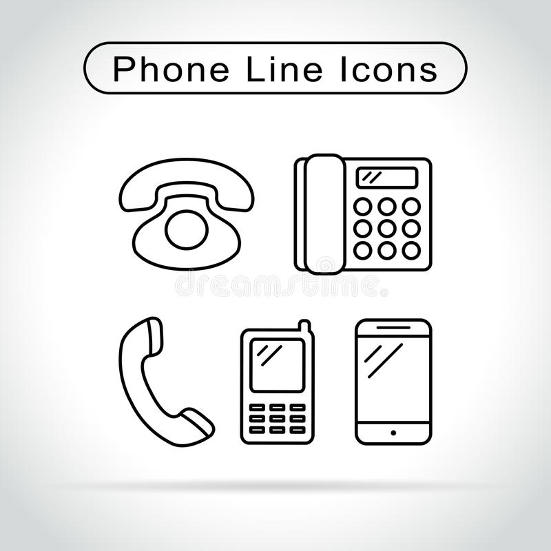 Phone icons on white background royalty free illustration