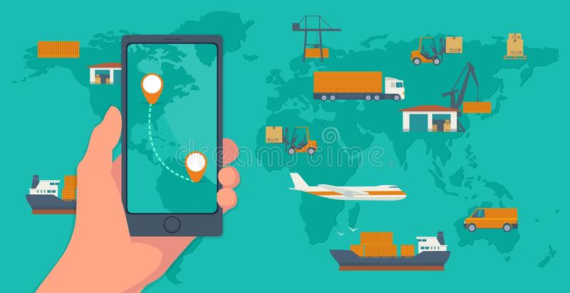 Phone with interface mobile app for cargo service on a screen. Logistic concept flat banner production process from. Factory to the shop. Top view world map royalty free illustration