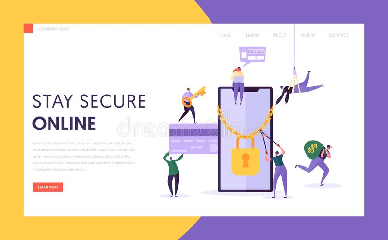 Phone Internet Payment Password Security Landing Page. Hacker Steal Finance Credit Card Data from Smartphone Screen. Money Credit Crack Protection Website or vector illustration