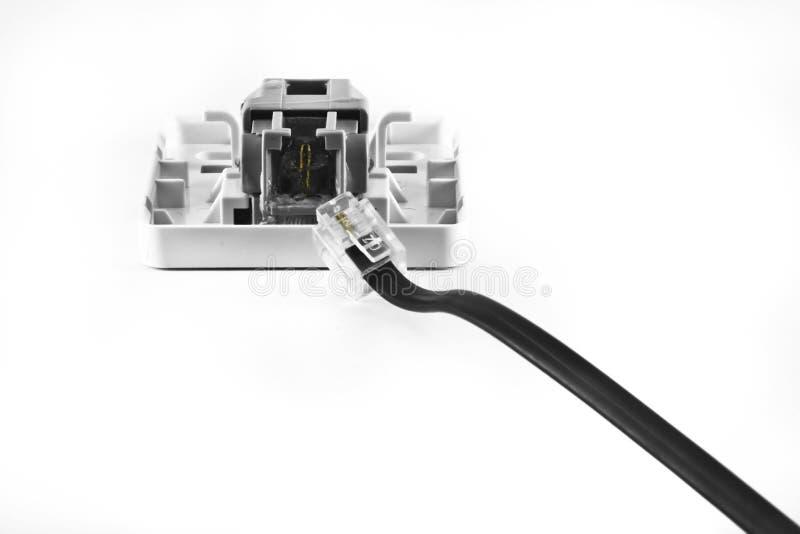 Phone jack and plug stock photo
