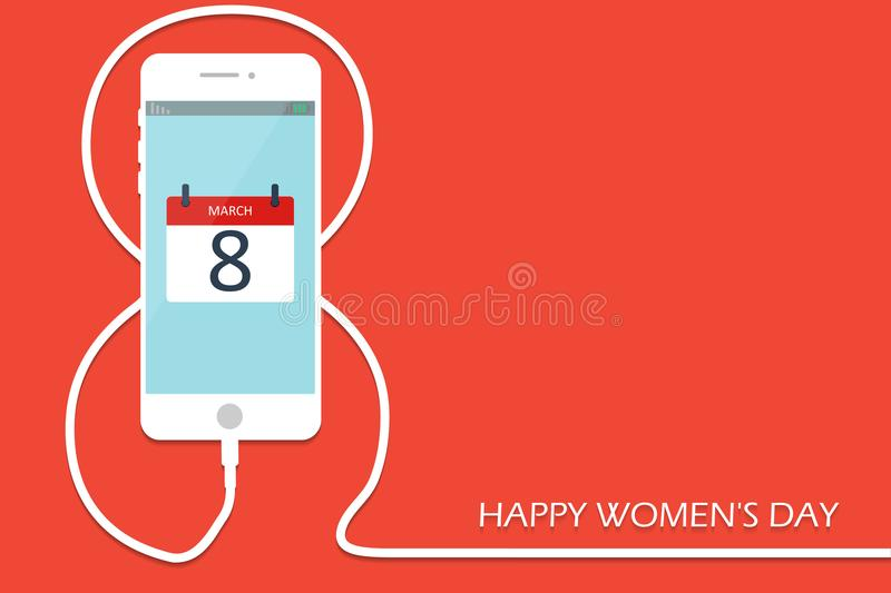 Phone with line eight wire. Outline 8 March smartphone charge, International Women`s Day card. Eps10. Vector illustration. Holiday banner, flayer, menu vector illustration