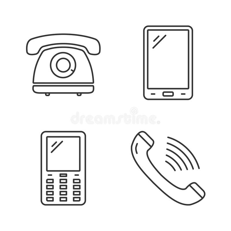 Phone Line Icons stock illustration