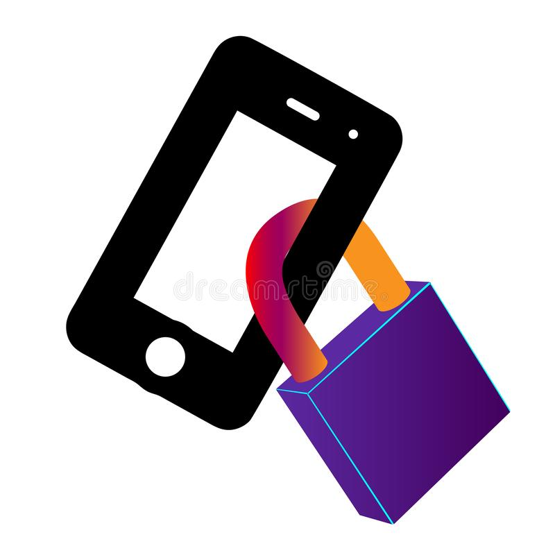 The phone is locked. Lock in a smart phone icon. Padlock of cyber security for mobile concept and web apps. Reliable line. Locking vector illustration
