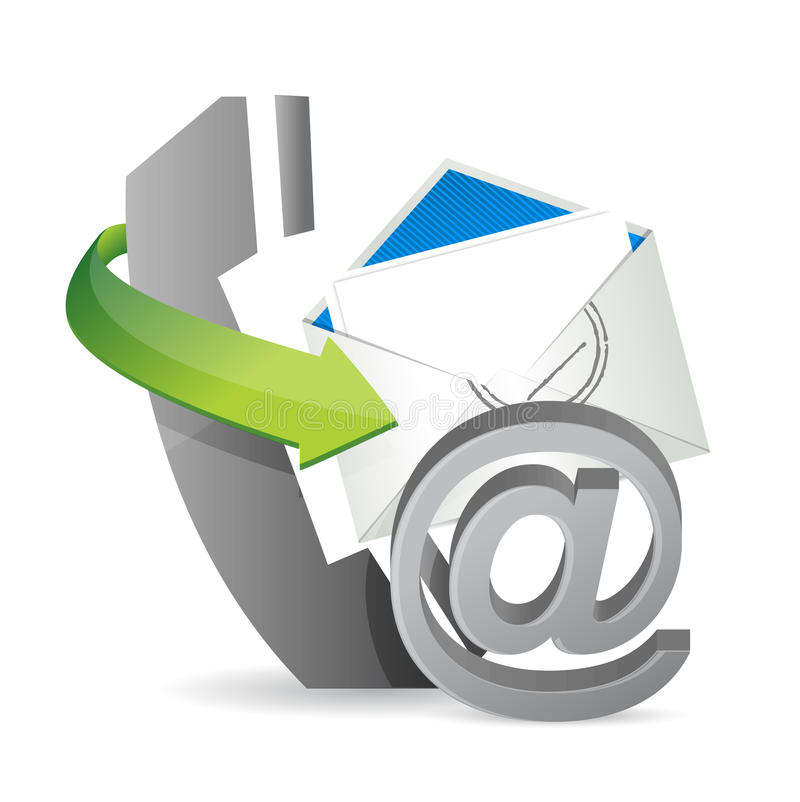 Phone mail at, contact us. Illustration design over a white background vector illustration