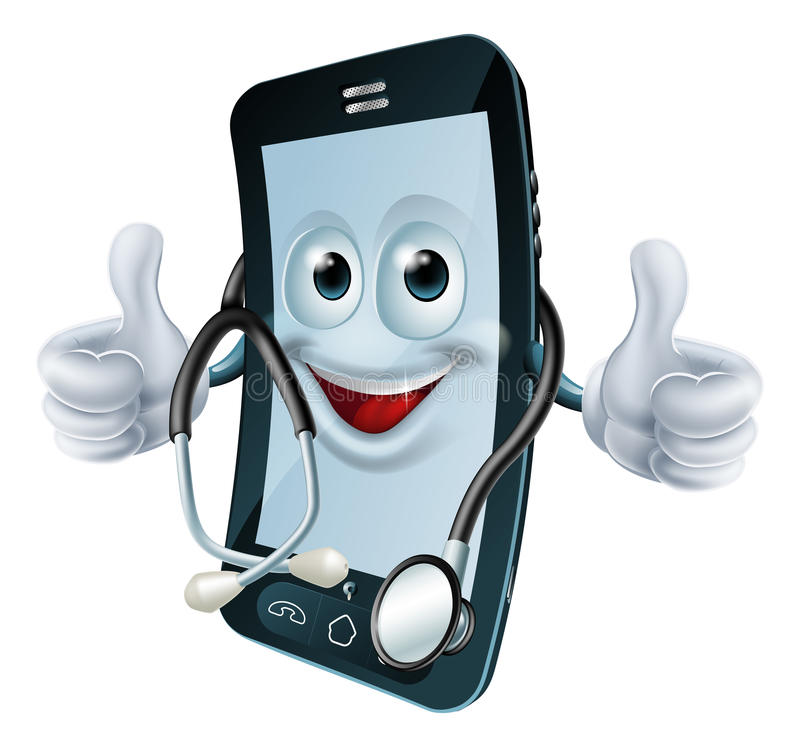 Phone man with a stethoscope royalty free illustration