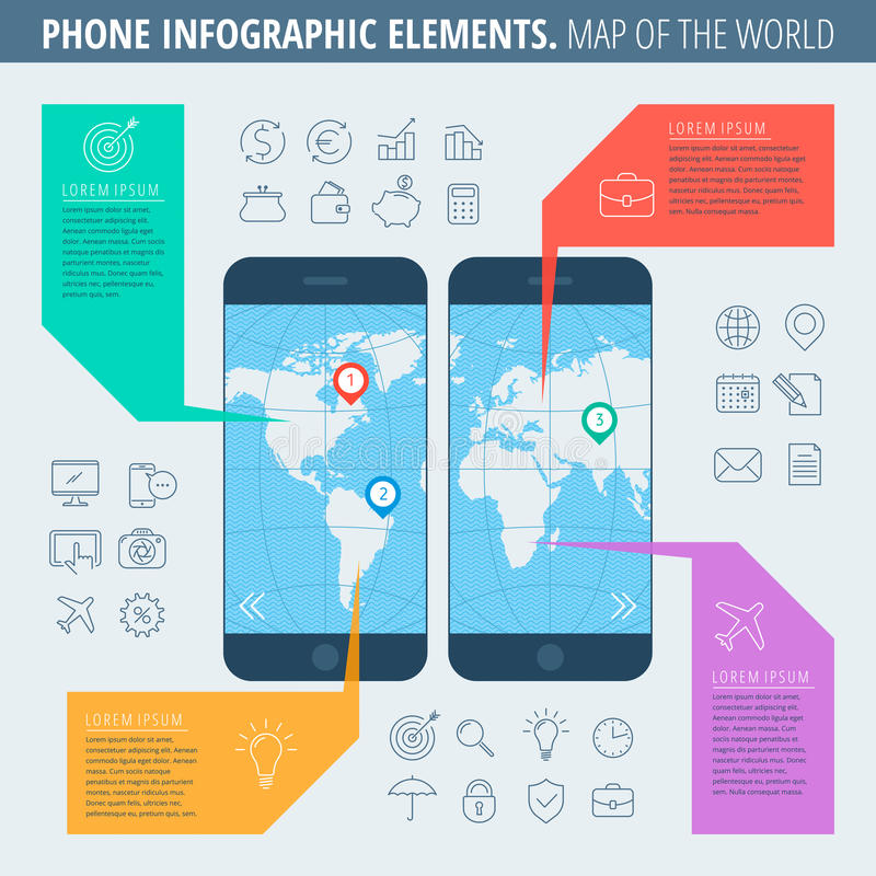 Phone map of the world royalty free illustration
