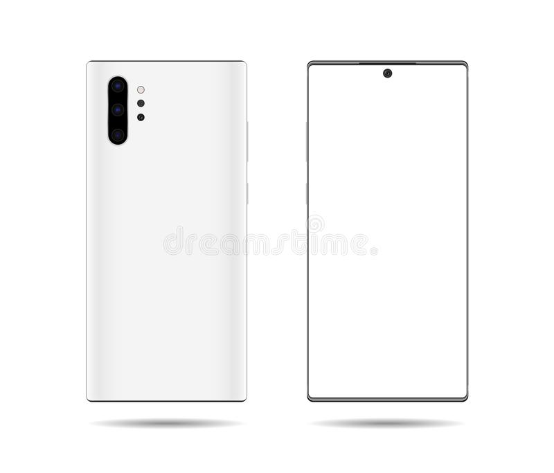 Phone mockup with blank screen. Back and front view realistic vector illustration