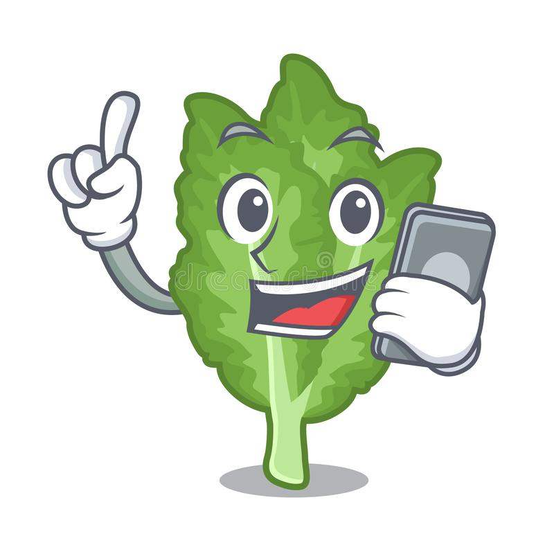 With phone mustrad green islated with the mascot stock illustration