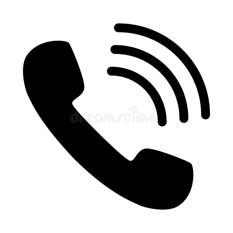 phone number hang on call icon black stock illustration