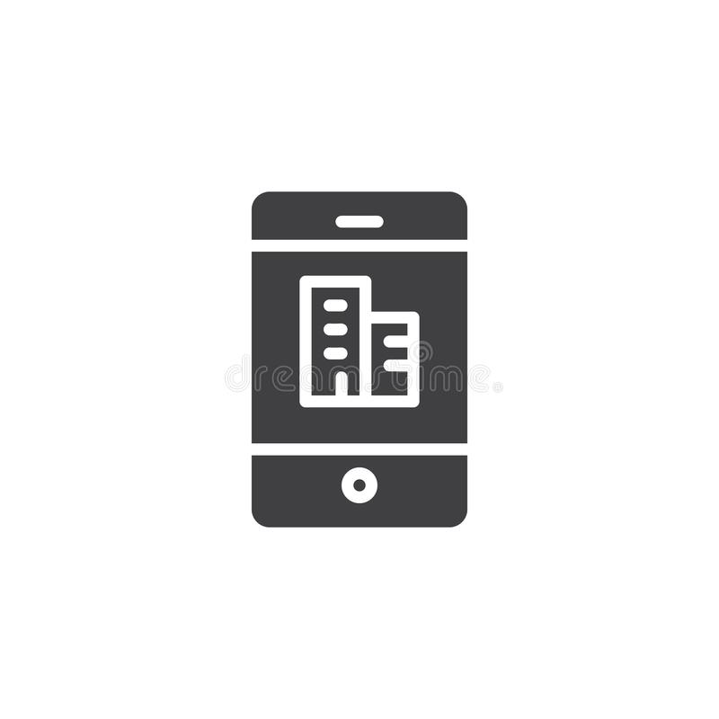 Phone with office building on screen vector icon stock illustration