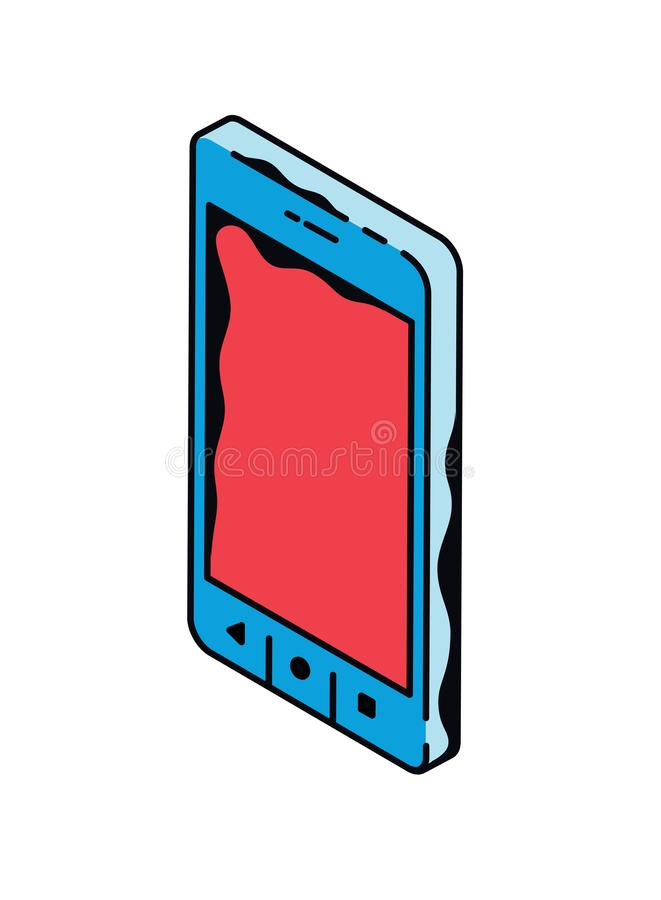 Phone pattern Vector. Layout smartphone for the designer. Phone screen in isometric in cartoon style stock illustration