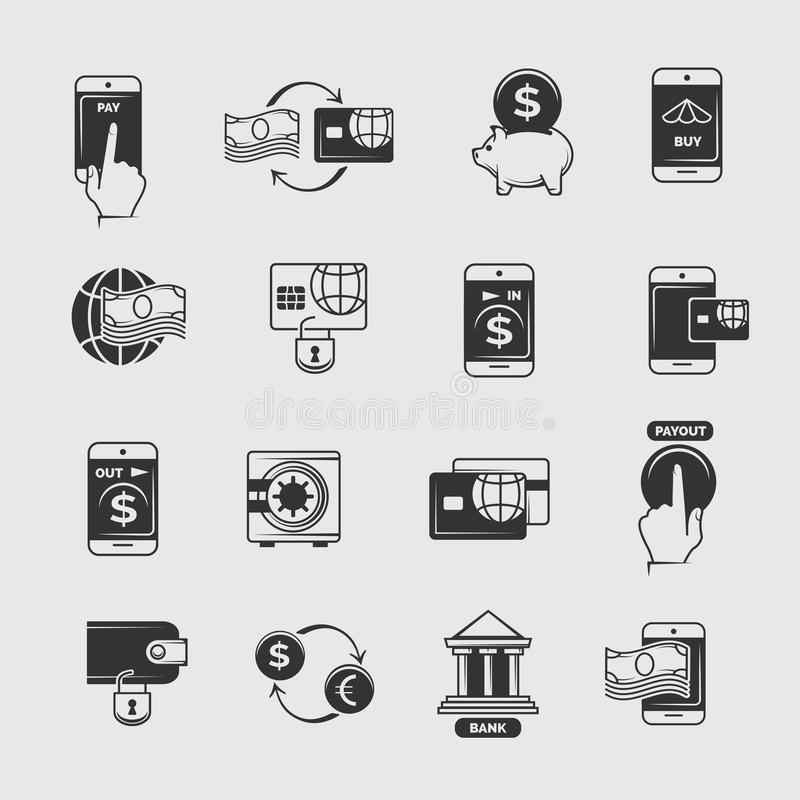Phone payment, mobile internet banking, electronic money transfer vector icons. Transaction and commerce with telephone illustration royalty free illustration