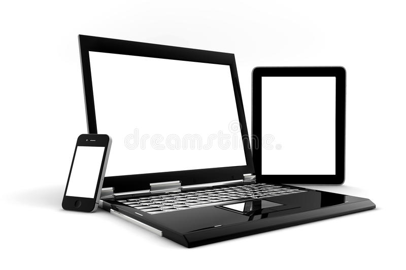 Phone, PC and tablet. With blank screen for copy space stock illustration