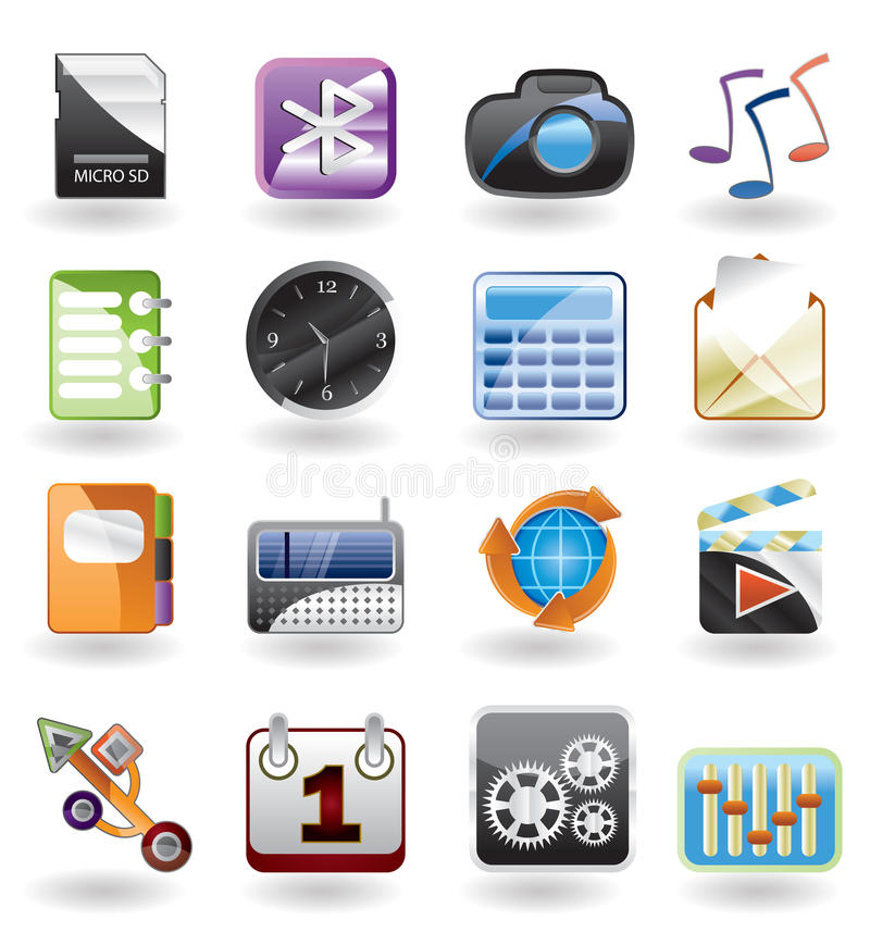 Phone performance, internet and office icon royalty free illustration