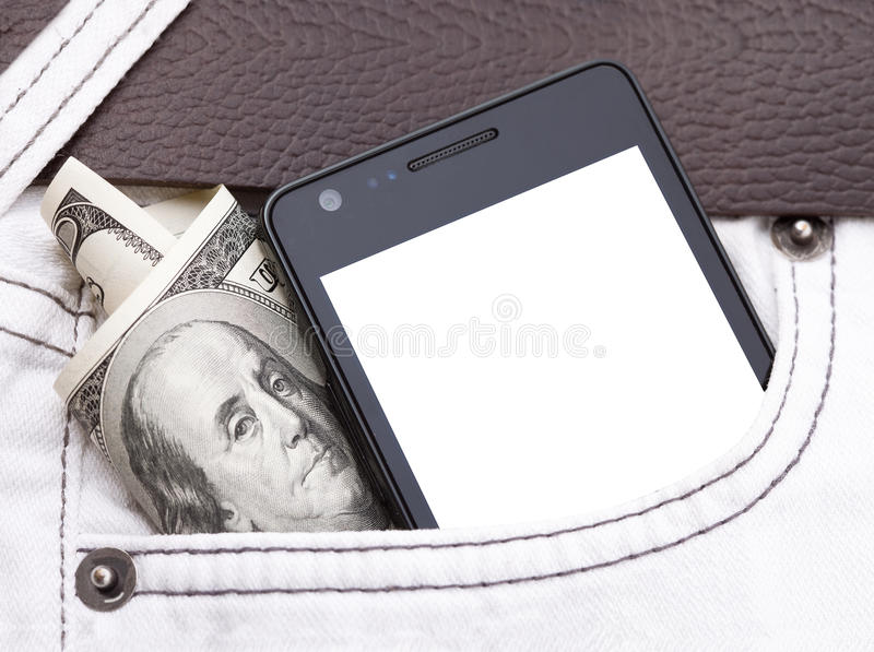 Phone in pocket displaying white screen. Cash stock photography