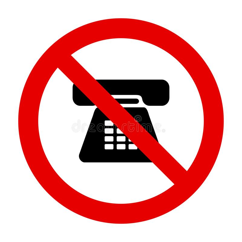 Phone and prohibition sign. As vector illustration stock illustration