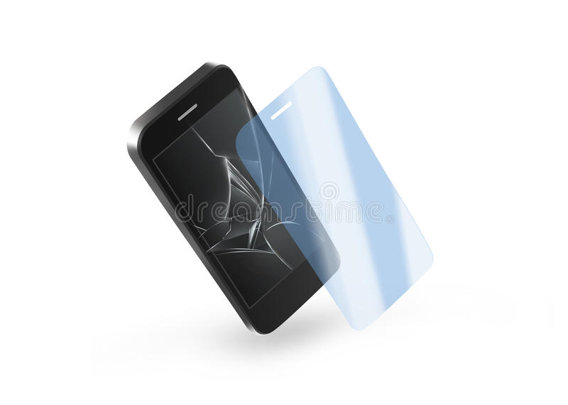Phone protection glass with broken screen. Smartphone display. Protector crack. Mock up protected from damage protective film. Safety, clear, insure from royalty free stock images