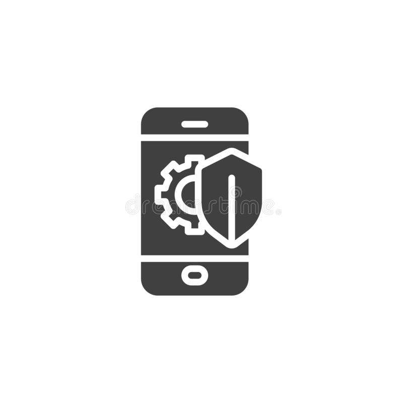 Phone protection shield vector icon. Mobile repair guarantee filled flat sign for mobile concept and web design. Smartphone screen with gear and shield glyph stock illustration
