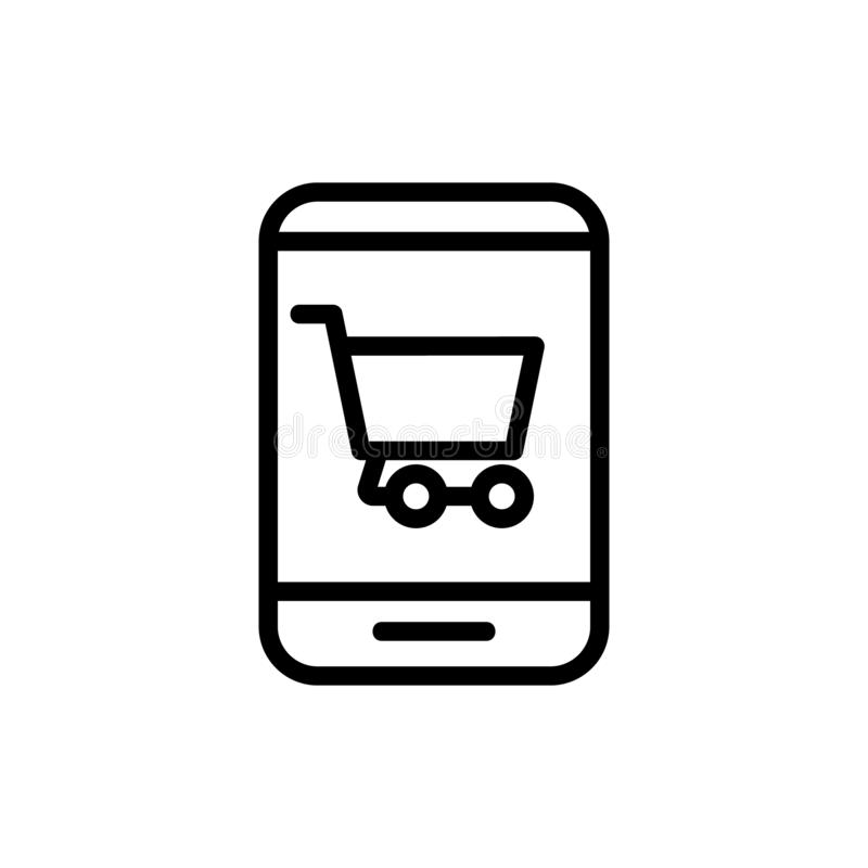 Phone and purchase vector icon. Isolated contour symbol illustration stock illustration