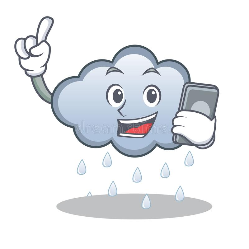 With phone rain cloud character cartoon stock illustration