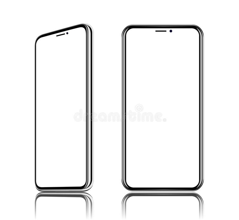 Phone realistic vector front view, It located obliquely, turn on the diagonal, isolated on white background. Phone realistic vector front view, It located vector illustration