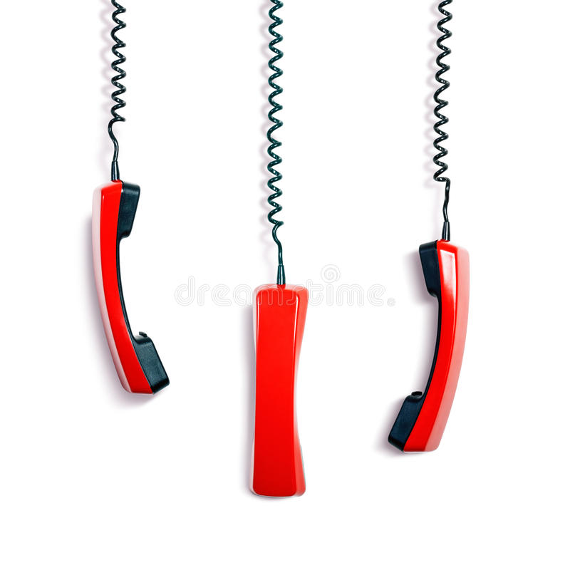 Phone receivers stock photography